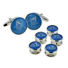 Blue & Silver Enamelled Masonic Cufflinks & 5 Button Stud Set in a Box X2Aj320A