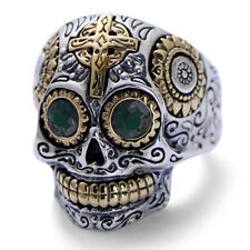 BIKER RING TITANIUM SKULL WITH GREEN CRYSTAL EYES SIZE 12 NEW  MAKE A STATEMENT