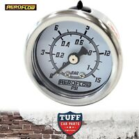 "Aeroflow White 0 - 15 PSI Carb Fuel or Oil Pressure Gauge 1.5"" 38mm 1/8"" NPT"