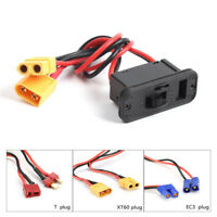 T/XT60/EC3 Plug On Off Switch Connector Charging Socket For RC Lipo Battery