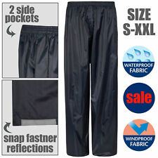 Mens Waterproof Over Trousers Fishing Golf Motorcycle Navy Blue Adults Womens UK