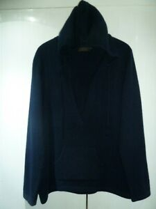 Ladies Navy Blue 100% Cashmere Hooded Jumper/Hoodie by Pure Collection Size 16