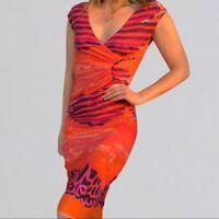 Roberto Cavalli Faux Wrap Midi Dress  Sleeveless