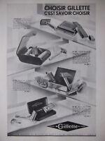 PUBLICITÉ DE PRESSE 1933 CHOISIR GILLETTE LAMES ET RASOIR DE SURETÉ -ADVERTISING