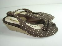 WOMENS BROWN OPEN TOE CAREER COMFORT SLINGBACK PUMPS HIGH HEELS SHOES SIZE 7 M