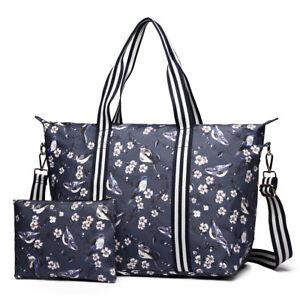 Women Oilcloth Large  Weekend Travel Shoulder Overnight Tote Handbag Bag