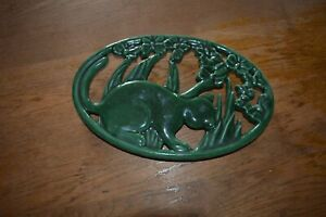 French wrought iron green vintage trivet-cat in garden