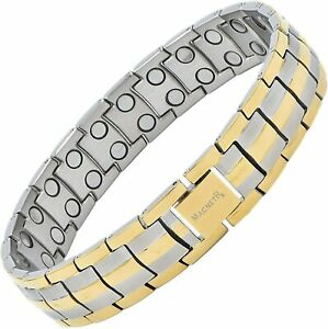 MagnetRX® Ultra Strength Magnetic Therapy Bracelet for Men (Silver & Gold)