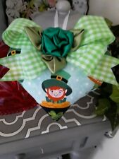 Shabby Happy St. Patricks Day Shamrocks Pot Of Gold Decorative Heart Ornament