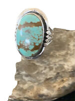 Navajo Native American Sterling Silver Blue Turquoise #8 Ring Sz 8 Gift 01450