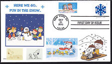 SNOOPY   HERE WE GO  FUN IN THE SNOW  PEANUTS  CHARLIE BROWN    FDC- DWc CACHET