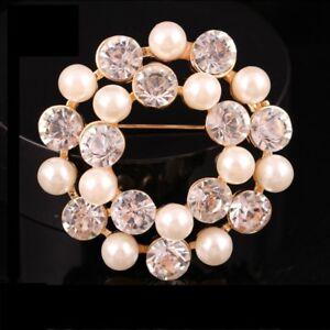 Gold Crystal Faux Pearl Flower Wreath Diamante Rhinestone Brooch Pin Scarf