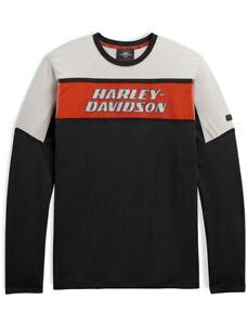 Harley-Davidson Mens LARGE #1 Colorblock Panel Long Sleeve T-Shirt 98776-20VM