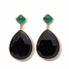 RARITIES CAROL BRODIE BLACK AND GREEN ONYX VERMEIL DROP PIERCED EARRINGS HSN