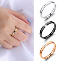 Gift Women Men Solid Crystal CZ Stainless Steel Couple Ring Wedding Band