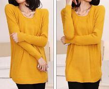 Caldo morbido maglione maglia pullover donna giallo girocollo misto lana 4243