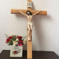 "catholic Large Jesus On wooden/Wood/Decor crucifix wall Hanging Cross Statue 22"""