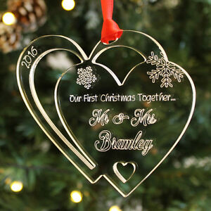 Personalised First Christmas Together Mr & Mrs Heart Bauble Keepsake Tree Gift