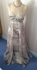 Ladies Sousourada Grey Chiffon Layered Strappy Long Dress - UK10