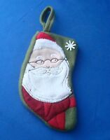 """8"""" quilted fully lined Santa Claus Face Christmas stocking ornament red & green"""