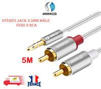 3.5mm Jack Mâle à 2 RCA Mâle AUX Audio Stéréo Y Splitter Adaptateur Cordon 5M Gr