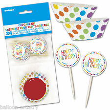 48 Piece Rainbow Colours Children's Birthday Party Cases Cupcake Decorating Kit