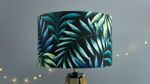 Tropical Leaves Lamp Shade 25cm 30cm 40cm - Botanical Green Black Exotic Palms