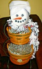 "Longaberger Large 32"" Iron Snowman with Two Heart of Dresden Faces"