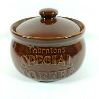 Vintage 1970s British Thorntons Special Toffee pot Retro gloss glaze. Candy jar