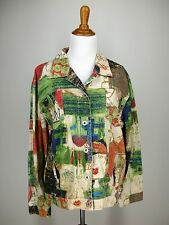 sz 2 M L CHICO'S Jean Jacket Green Red Beige Abstract Picasso Face Print Linen