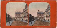 Echtes Original 1860er Jahre Stereofoto Paris, Rue de Rivoli, handkoloriert