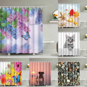 Animals Cat Butterfly Elephant Tiger Shower Curtains Bathroom Curtain Waterproof