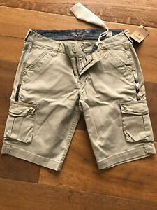 NWT Lucky Brand Womens Embroidered Khaki Cargo Shorts sz 2/26