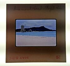 1963 Kodachrome 35mm Film Slide Diamond Head Hawaii Royal Hotel Beach Scene