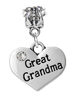 Great Grandma Heart Rhinestone Gift Dangle Charm for European Bead Bracelets