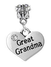 Great Grandma Heart Rhinestone Gift Dangle Charm for European Bead Bracelets