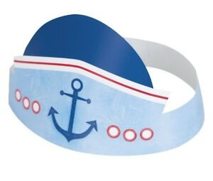 6 x Boys Nautical 1st Birthday Hats Card Blue Baby Adjustable Party Supplies