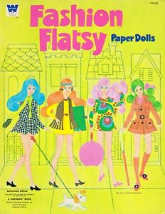 VINTAGE UNCUT 1971 FASHION FLATSY PAPER DOLLS ~CUTE HD LASER REPRODUCTION~LO PR
