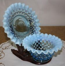 Fenton Blue Opalescent Hobnail Mayonnaise Set - Bowl and Underplate - Beautiful