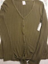 NWT No Boundaries Sz M 7-9 Olive Shade Cardigan Sweater