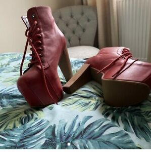 Jeffrey Campbell Lita Womens Red Leather Platform Ankle Boot UK Size 6