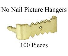 """100 Pack of 1"""" Nailess sawtooth Picture Frame Hangers - Brass Plated Steel"""