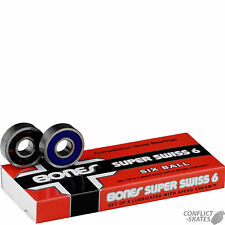 "BONES ""Super Swiss 6"" Skateboard Bearings Longboard 6 Ball x8 608 8mm Precision"
