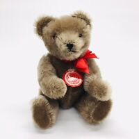 "Hermann Teddy Original 8"" Mohair Gray Brown Teddy Bear Red Tag Made West Germany"