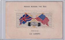 "VINTAGE POSTCARD WOVEN SILK ""HANDS ACROSS THE SEA ""   1900s"