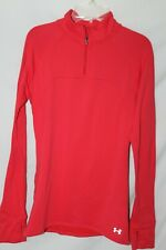 Women's Under Armour Half Zip Pullover Athletic Jacket Fitted Size M Coral