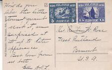 Iceland #153,#156 on Tjarnargata Reykjavik Post Card to US  *a