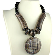 Natural buffalo horn brown oversized huge round pendant bead choker necklace