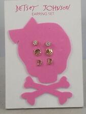 Betsey Johnson Goldtone Rhinestone Pig Smiley Face Initial D Stud Earrings 3 Set