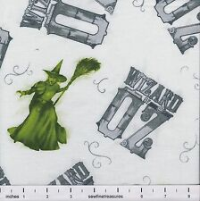 Wizard of Oz 75 Years Wickedness WITCH TOSS on WHITE Fabric By the FQ 1/4 YD